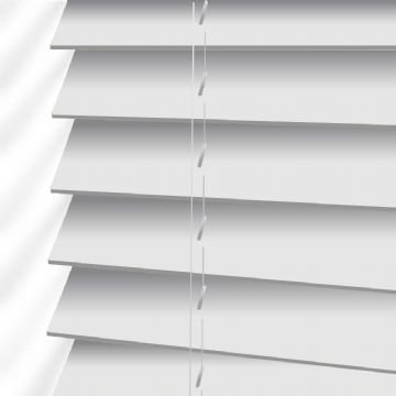 White Faux Wood Venetian Blinds in Morning Frost